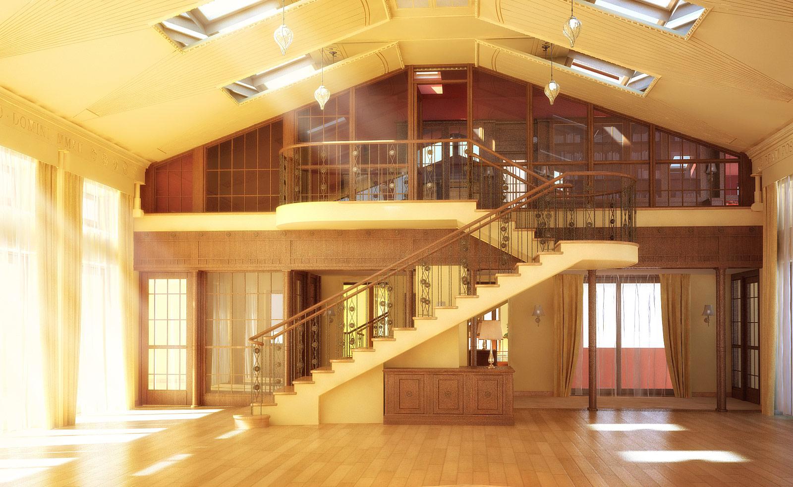 Гостиная. Вид на лестницу в библиотеку.